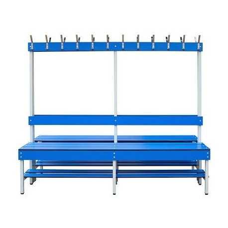 Bancos de vestuario DOBLES, con estructura de acero INOX y asiento de fenólico