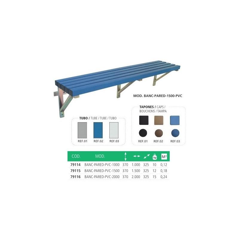 Bancos de vestuario SIMPLES, con estructura de acero y asiento de madera.