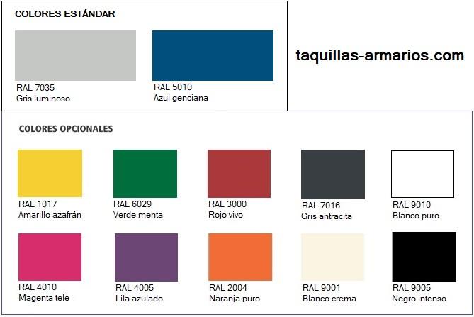 Acabados estándar y opcionales para las taquillas metálicas.