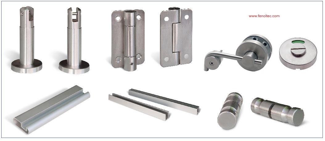 Herrajes utilizados para montar cabinas y separadores de wc y duchas.