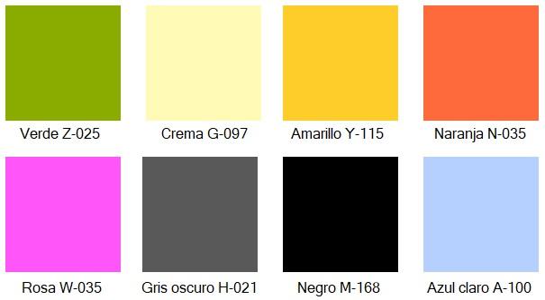 Colores para las puertas de las taquillas de melamina.