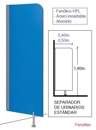 Separadores de urinarios en fenólico, de 1,40 x 0,40 m. con perfil a pared y pata al suelo.